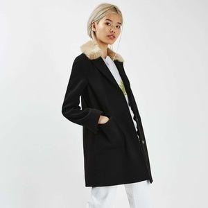 NWOT Topshop Detachable Fur Collar Coat
